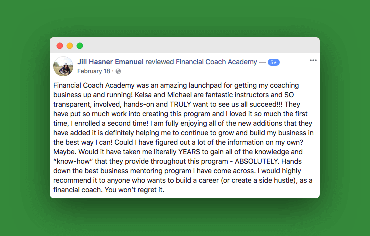 Financial Coach Testimonial