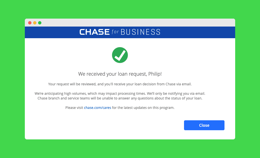 Chase Application Accepted for PPP